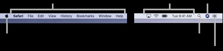 Menulinjen. Til venstre findes Apple-menuen og programmenuerne. Til højre findes statusmenuer og symboler for Spotlight, Siri og Meddelelsescenter.
