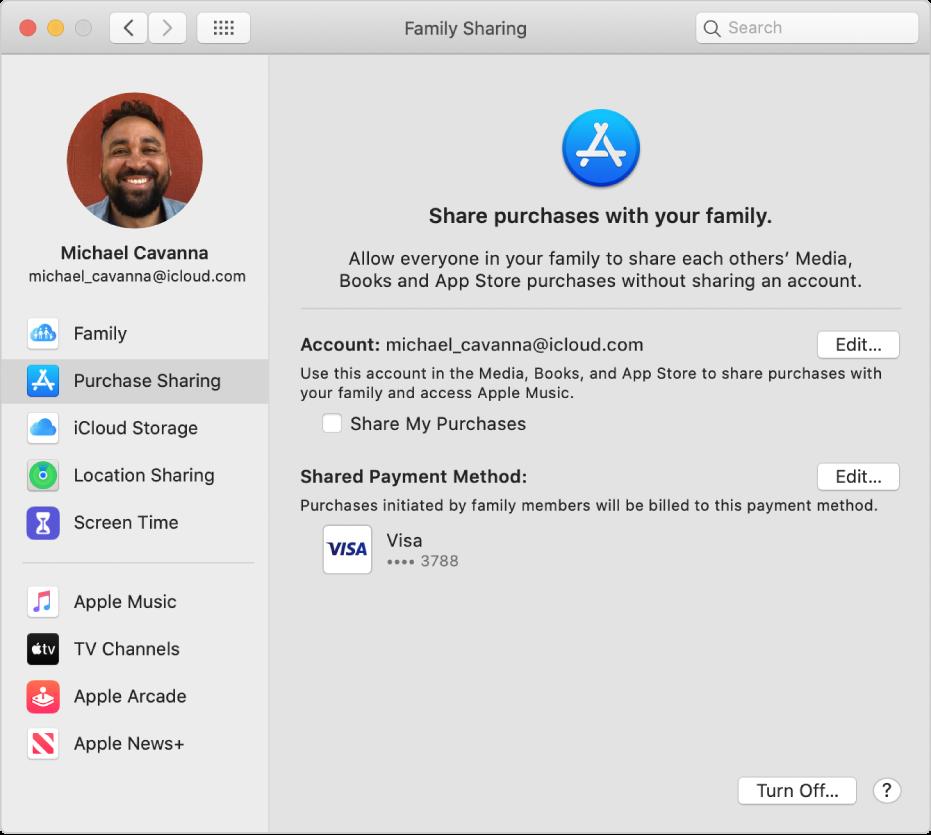 """Die Systemeinstellung """"Familienfreigabe"""" mit ausgewählter Kauffreigabe in der Seitenleiste; rechts befinden sich der Account und die Zahlungsmethode, die für die Käufe verwendet wird."""