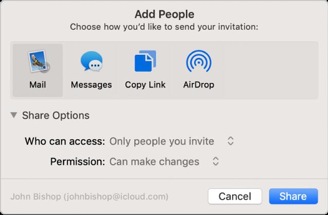 """Das Fenster """"Personen hinzufügen"""" mit Apps, die du für Einladungen verwenden kannst, und die Optionen zum Teilen von Dokumenten."""