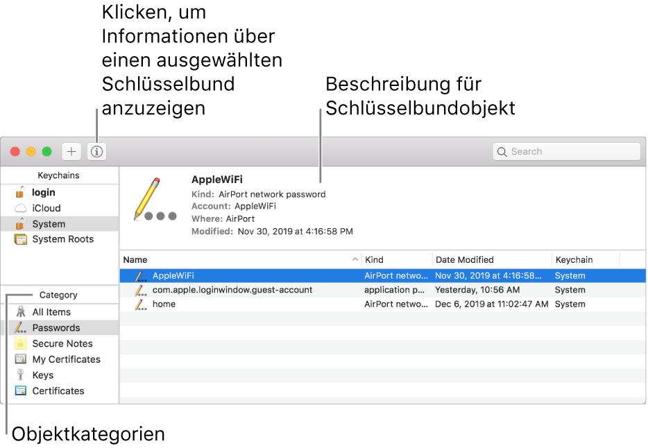 """Die Hauptbereiche des Fensters """"Schlüsselbundverwaltung"""": die Liste der Kategorien, die Liste der Schlüsselbundobjekte und eine Beschreibung der Schlüsselbundobjekte."""