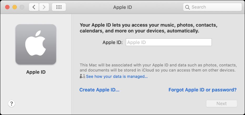 """Apple-ID-Dialogfenster für die Eingabe eines Namens für eine Apple-ID Ein Link """"Apple-ID erstellen"""" wird angezeigt, den du zum Erstellen einer neuen Apple-ID verwenden kannst."""