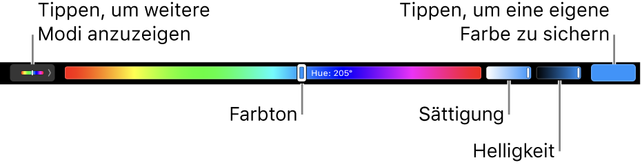 Die Touch Bar mit Schiebereglern für Farbton, Sättigung und Helligkeit für den HSB-Modus Links befindet sich die Taste zum Anzeigen aller Modi, rechts die Taste zum Sichern einer eigenen Farbe