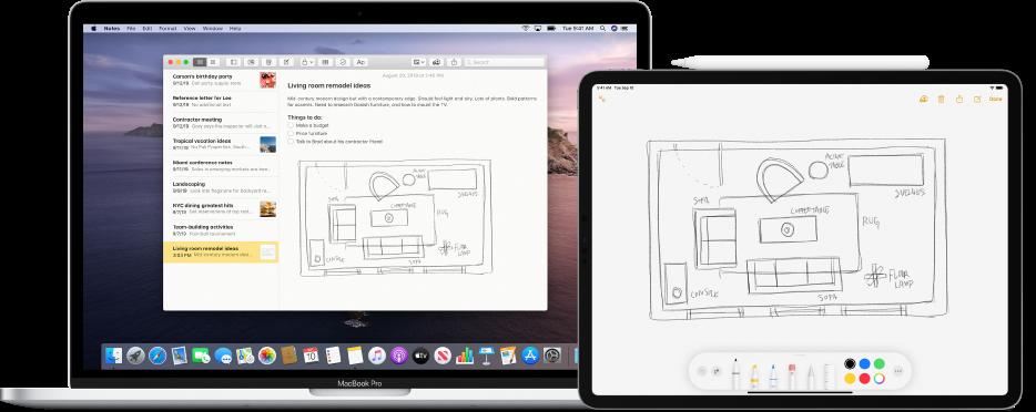 Ein iPad, auf dem eine Skizze in einem Dokument angezeigt wird; daneben befindet sich ein Mac, auf dem das gleiche Dokument und die gleiche Skizze zu sehen sind.