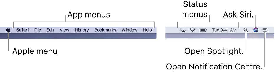 The menu bar. On the left are the Apple menu and app menus. On the right are status menus, and the Spotlight, Siri and Notification Center icons.