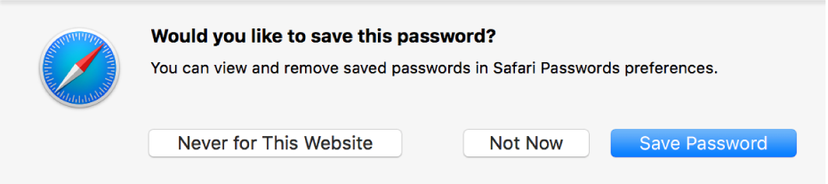 A dialogue asking if you want to save the password for a website.