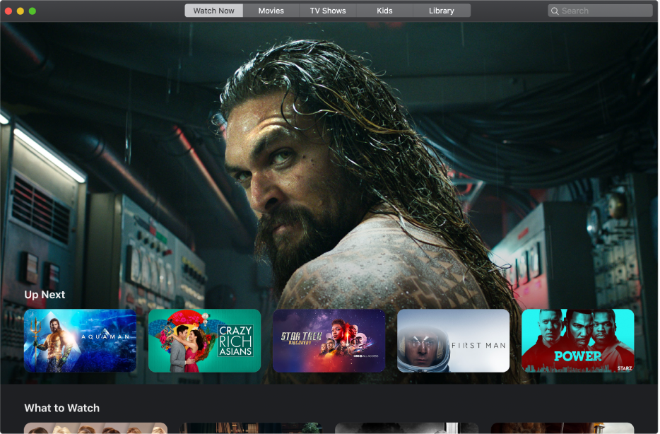 The Apple TV window showing a movie that's up next in the Watch Now category.