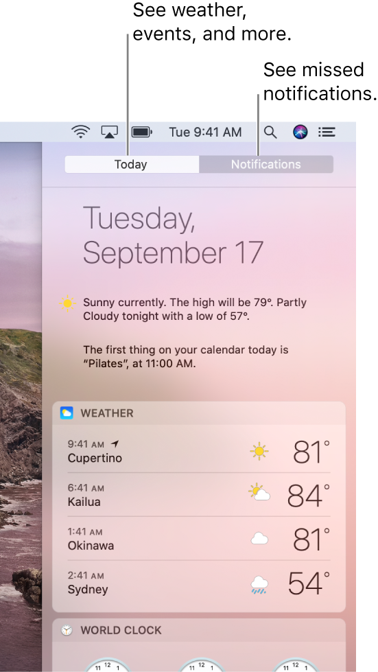 Today view showing weather in three locations. Click the Notifications tab to see missed notifications.