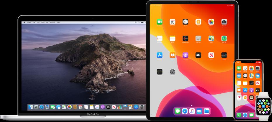 Una Mac, iPad, iPhone y AppleWatch.