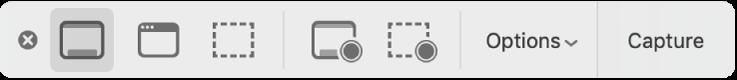El panel de herramientas de Capturas de pantalla.