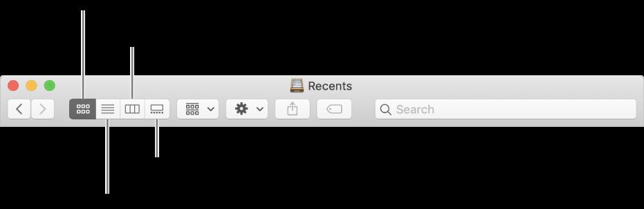 Los botones de visualización en una ventana del Finder.
