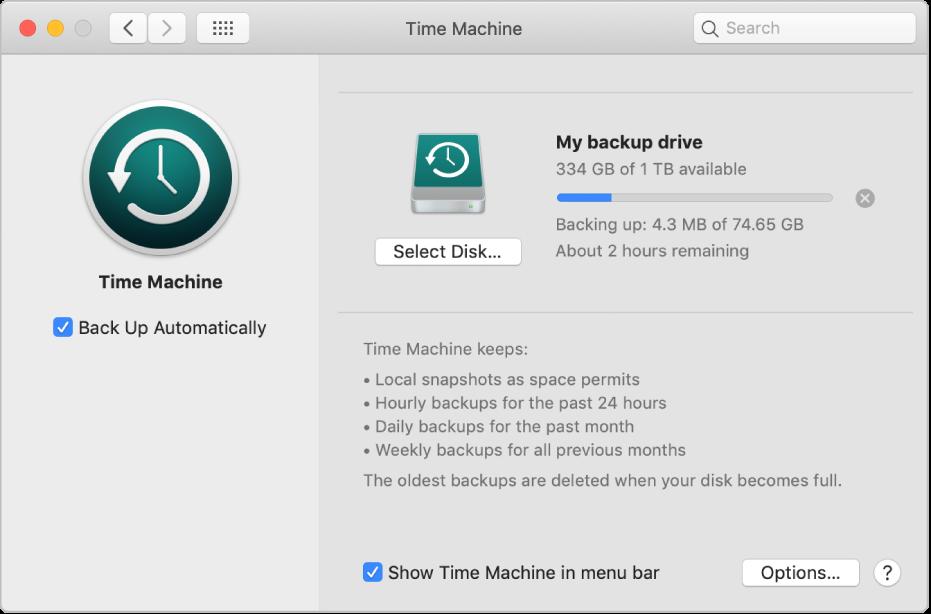 Préférences TimeMachine affichant l'état d'avancement d'une sauvegarde sur un disque externe.