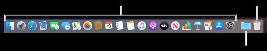 Dock, ऐप्स, डाउनलोड्स स्टैक और ट्रैश के आइकॉन दिखाता है।