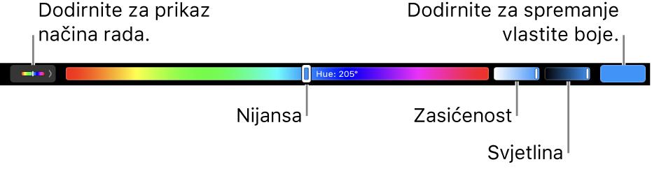Touch Bar s prikazom kliznika za nijansu, zasićenost i svjetlinu za mod HSB. Na lijevom dijelu nalazi se tipka za prikaz svih modova, a na desnom tipka za spremanje vlastite boje.