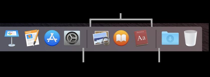 Linija odvajača među aplikacijama, datotekama i mapama u Docku.