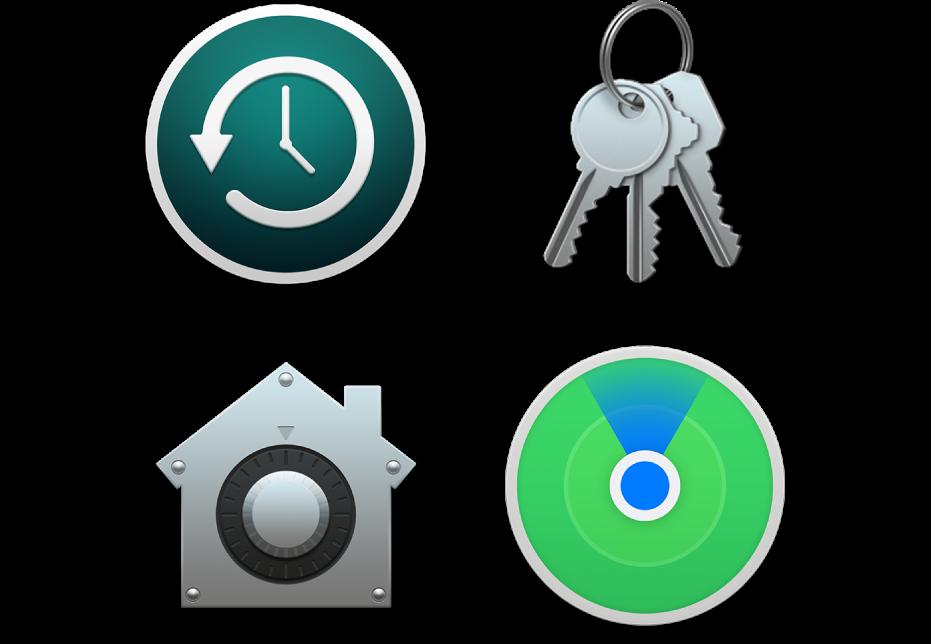 Icone che rappresentano funzionalità di sicurezza che aiutano a proteggere il tuoi dati e il Mac.