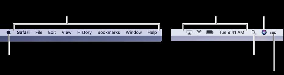 메뉴 막대. 왼쪽에 있는 Apple 메뉴와 앱 메뉴. 오른쪽에 있는 상태 메뉴, Spotlight, Siri 및 알림 센터 아이콘.