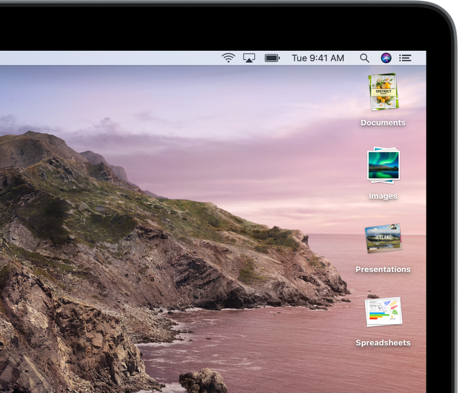 Desktop Mac dengan tindanan di sepanjang pinggir kanan skrin.