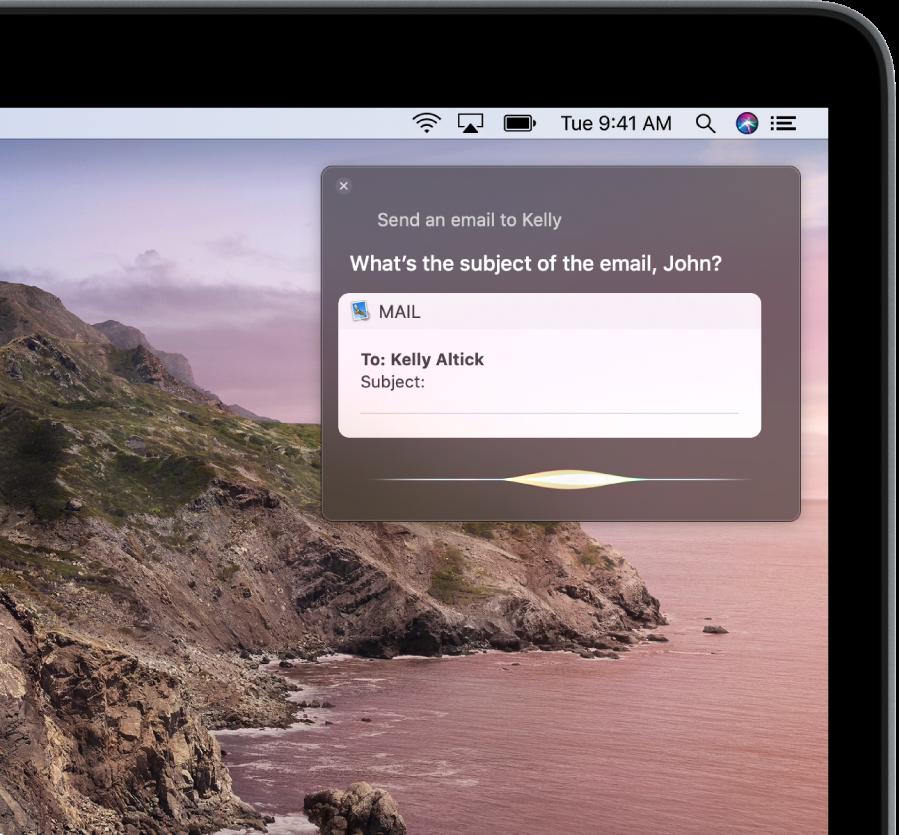 Het Siri-venster rechtsboven in het scherm waarin de tekst van een e-mail wordt gedicteerd.