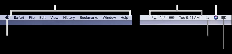 Menylinjen. Til venstre er Apple-menyen og programmenyer. Til høyre er statusmenyer, og Spotlight-, Siri- og Varslingssenter-symboler.