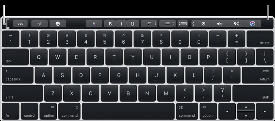 Klawiatura zpaskiem Touch Bar wzdłuż górnej krawędzi; TouchID znajduje się na prawym końcu paska Touch Bar.