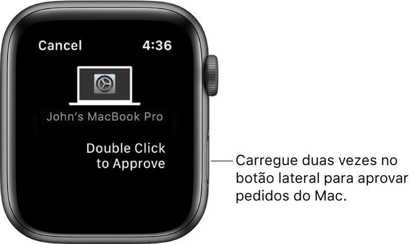 O Apple Watch a mostrar um pedido de aprovação de um MacBook Pro.