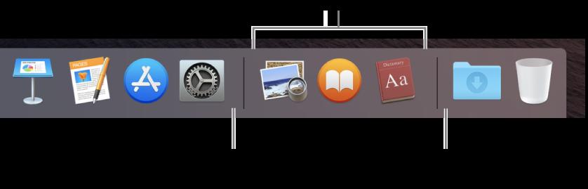 Dock'un sağ ucu. Son kullanılan uygulamalar bölümünün soluna uygulamaları, İndirilenler belge grubunun ve Çöp Sepeti'nin bulunduğu kısım olan bu bölümün sağına da klasörleri ekleyin.