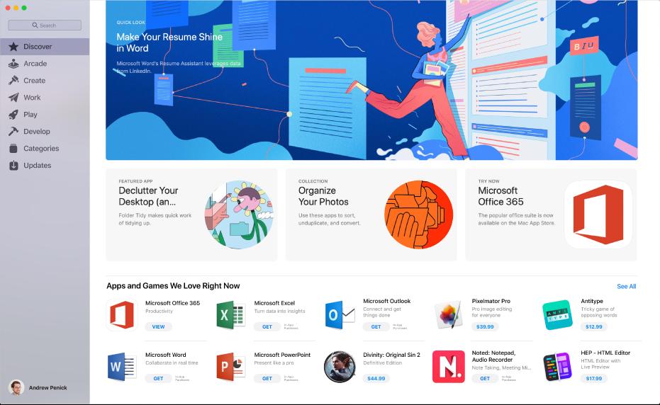 Solda kenar çubuğu ve sağda öne çıkan uygulamalar ve koleksiyonlar ve editörlerden öneriler gibi tıklanabilir alanlar ile App Store penceresi.