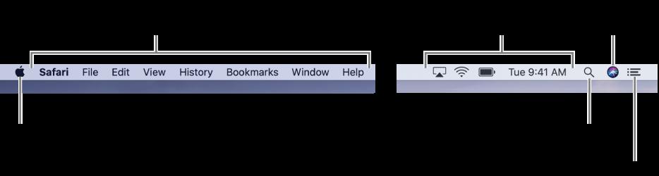 Menü çubuğu. Soldakiler Elma menüsü ve uygulama menüleridir. Sağda durum menüleri, Spotlight, Siri ve Bildirim Merkezi simgeleri bulunur.