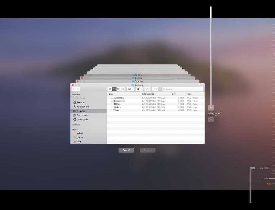 """打开时间机器时,您将看到一个模糊的屏幕中有多个堆叠的""""访达""""屏幕,表示备份。点按箭头以在备份中导航(或者在右侧的备份时间线中点按),然后选取要恢复的文件。"""