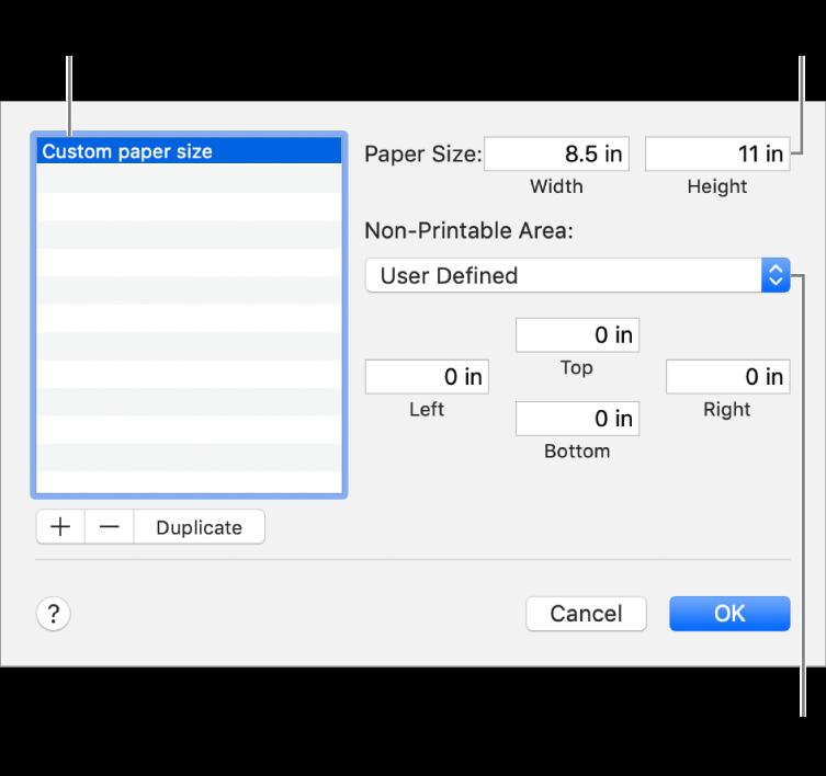 按一下「加入」來加入新的紙張大小。若要更改您自訂紙張大小的名稱,請按兩下名稱,然後輸入新的名稱。從彈出式選單中選擇印表機來使用其標準邊界,或在下方欄位中輸入自訂值。
