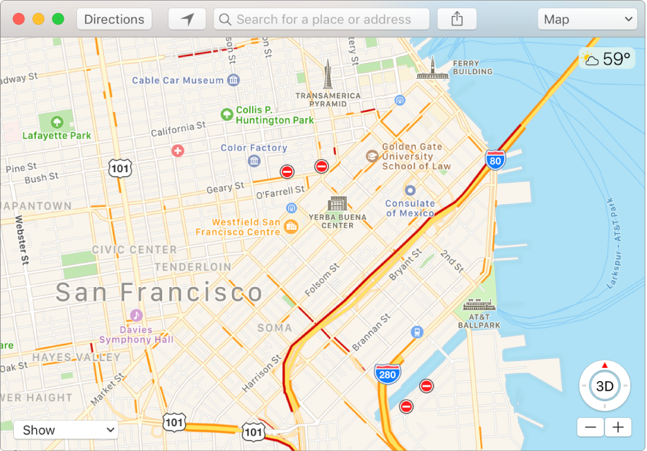 Okno aplikacji Mapy pokazujące dane oruchu drogowym przy użyciu ikon na mapie.