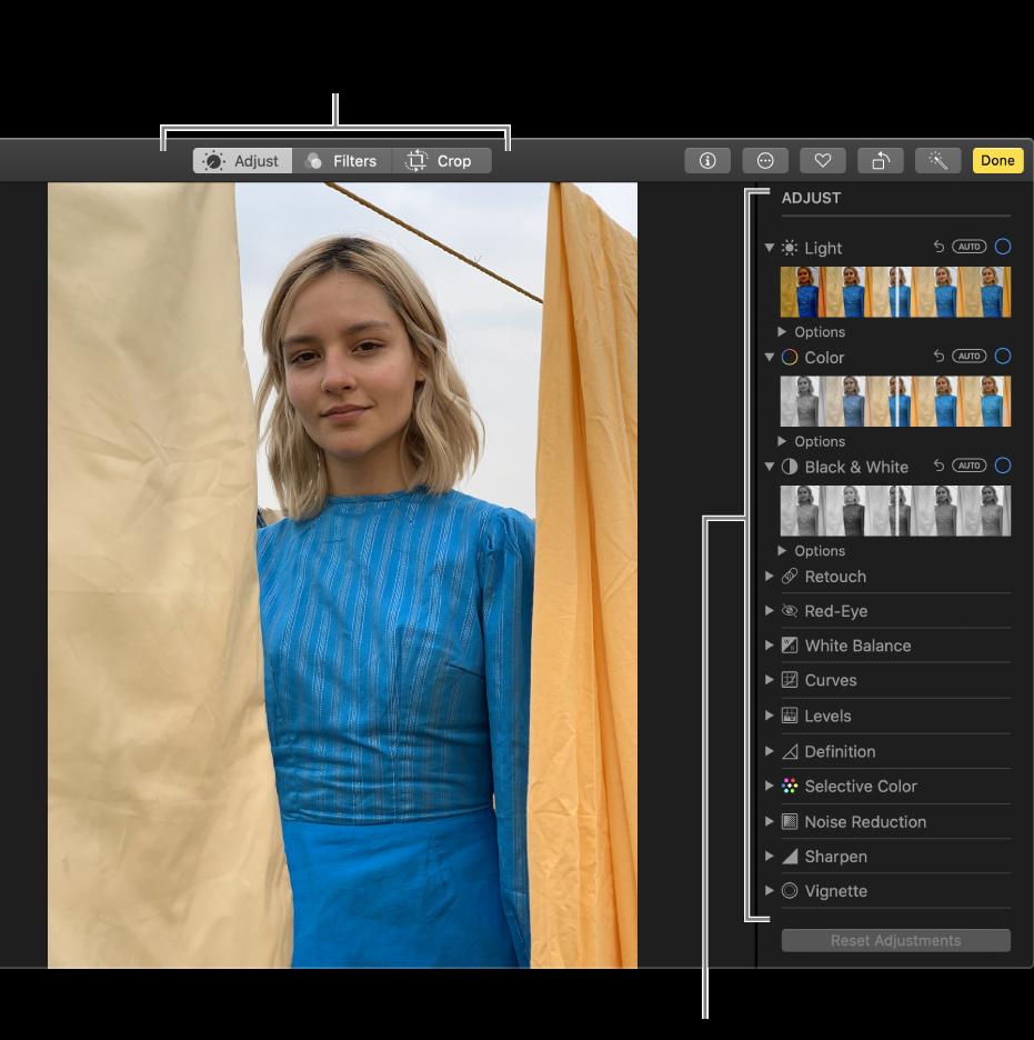 Una foto en la vista d'edició amb les eines d'edició a la dreta.