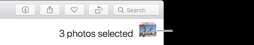 En valgindikator, der viser tre valgte fotografier.