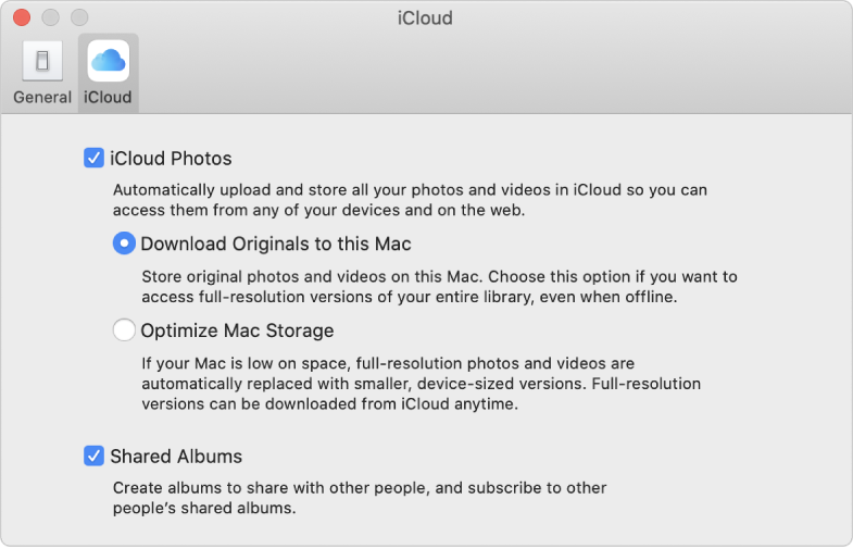 The iCloud pane of Photos preferences.