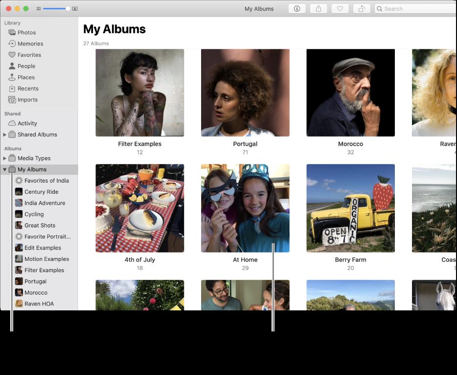 """La ventana de Fotos con la carpeta """"Mis álbumes"""" seleccionada en la barra lateral y los álbumes que has creado en la ventana de la derecha."""
