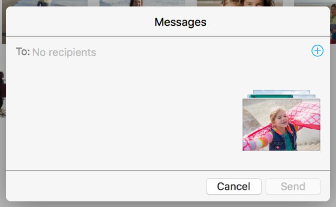 Une zone de dialogue pour ajouter des destinataires lors du partage de photos à partir de l'app Photos via Messages.