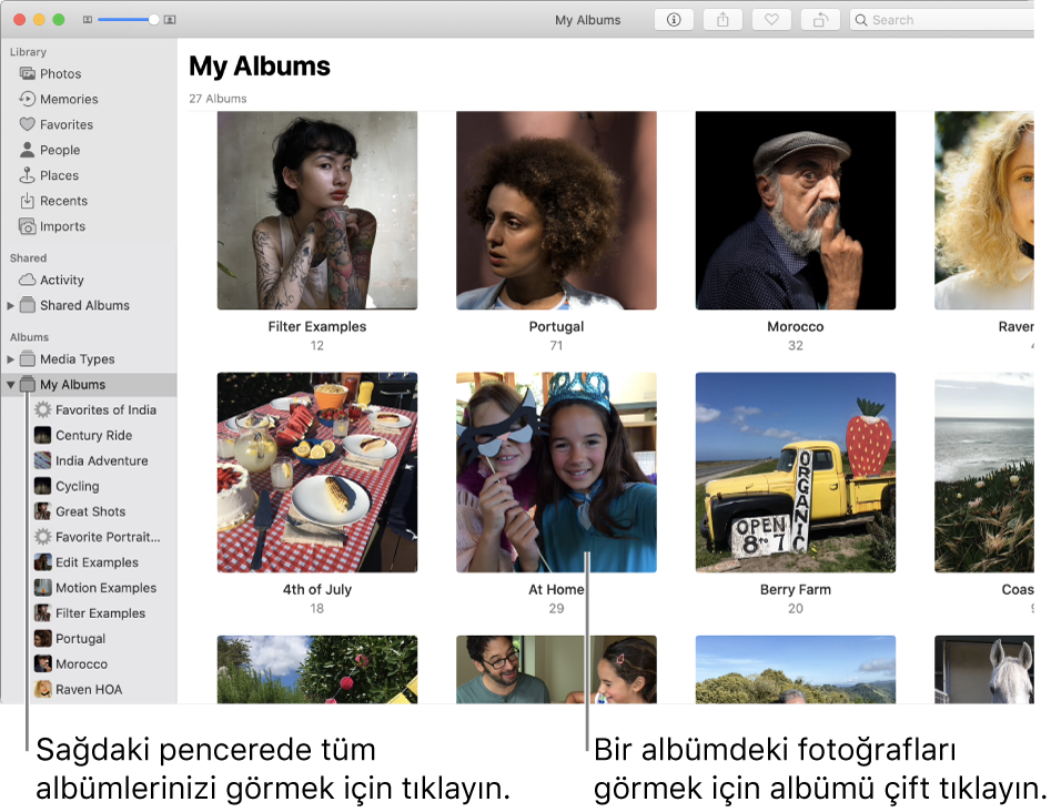 Kenar çubuğunda Albümlerim seçiliyken görünen Fotoğraflar penceresi ve sağdaki pencerede görüntülenen yarattığınız albümler.