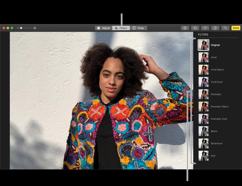 处于编辑视图的照片,右侧显示滤镜。