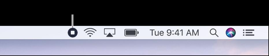 """La barra de menús mostrando el botón """"Detener grabación""""."""