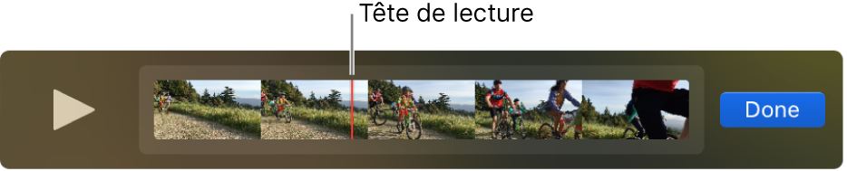 Un plan dans la fenêtre QuickTimePlayer, avec la tête de lecture proche du centre du plan.