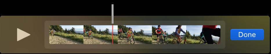 Clip nella finestra di QuickTime Player con la testina di riproduzione vicino al centro del clip.