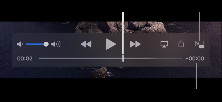 Avspillingskontrollene i QuickTime Player. Øverst er volumkontrollen, Spol tilbake-knappen, Start/pause-knappen og Hurtigspoling framover-knappen. Nederst er spillehodet, som du kan flytte for å gå til et bestemt sted i filen. Tiden som gjenstår i filen vises nederst til høyre.