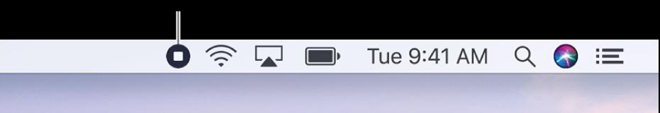 Строка меню с кнопкой «Остановить запись».
