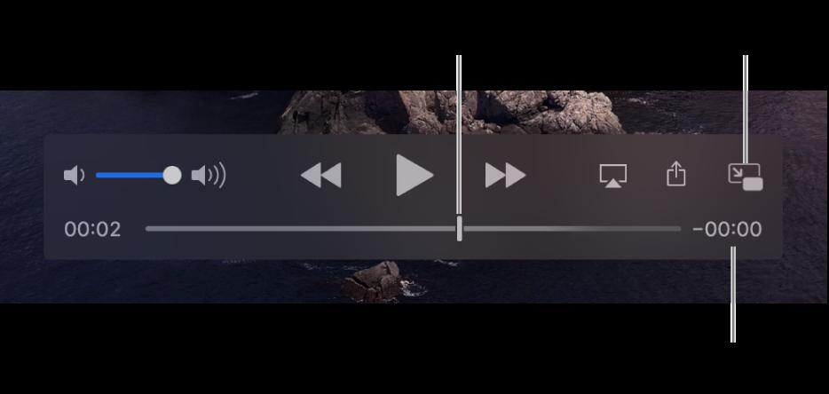 ตัวควบคุมการเล่น QuickTime Player จากด้านบนสุดคือตัวควบคุมระดับเสียง ปุ่มเลื่อนถอยกลับ ปุ่มเล่น/หยุดพัก และปุ่มเลื่อนไปข้างหน้าอย่างเร็ว ด้านล่างสุดคือตัวชี้ตำแหน่ง ซึ่งคุณสามารถลากไปที่จุดที่ระบุเฉพาะในไฟล์ได้ เวลาที่เหลืออยู่ในไฟล์ปรากฏขึ้นที่ด้านขวาล่างสุด