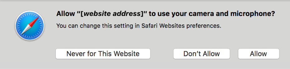 A dialog showing the options for sharing the camera and microphone on your Mac with a website.