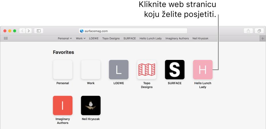 Polje za adresu i pretraživanje u Safariju, a ispod njega se nalaze ikone omiljenih web stranica.