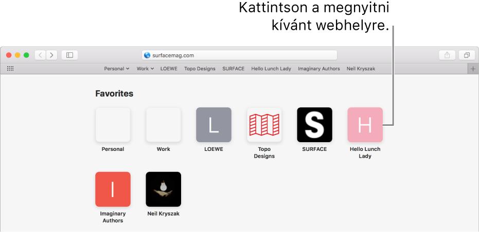 A Safari cím- és keresési mezője, alatta a kedvenc webhelyek ikonjaival.