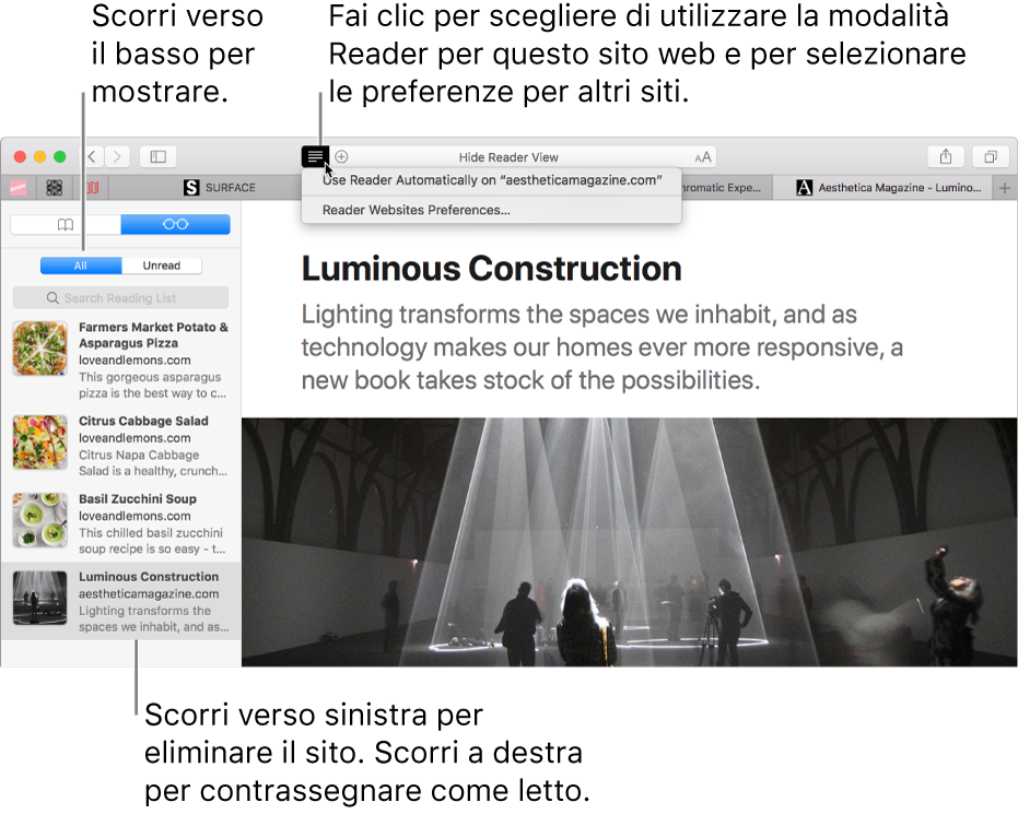 """Una finestra di Safari con """"Elenco lettura""""."""