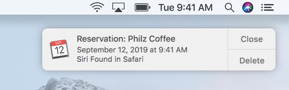 Sugestia Siri, aby dodać wydarzenie zSafari do Kalendarza.