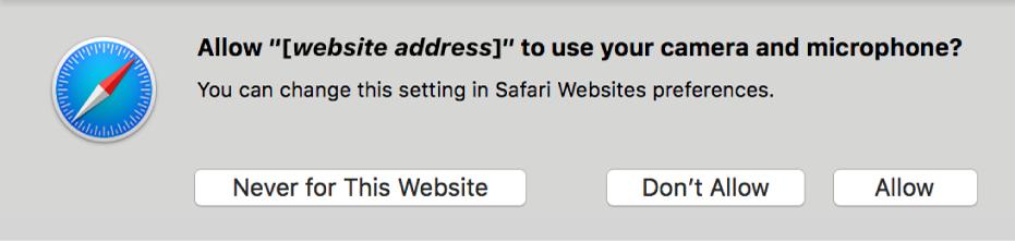 Uma caixa de diálogo mostra as opções de partilha da câmara e do microfone do Mac com um site.